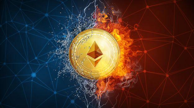 Фото бесплатно Эфириум, огонь, монета