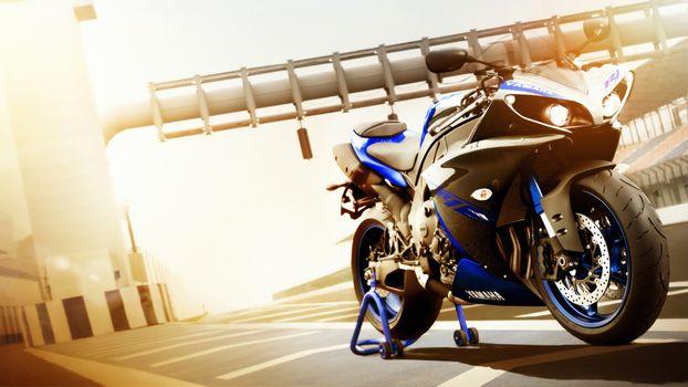 Фото бесплатно Yamaha R1, мотоцикл, подножка