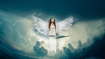 Фото бесплатно небо, молния, девушка
