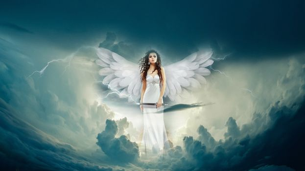 Заставки небо,молния,девушка,ангел,облака,фотошоп,фантазия