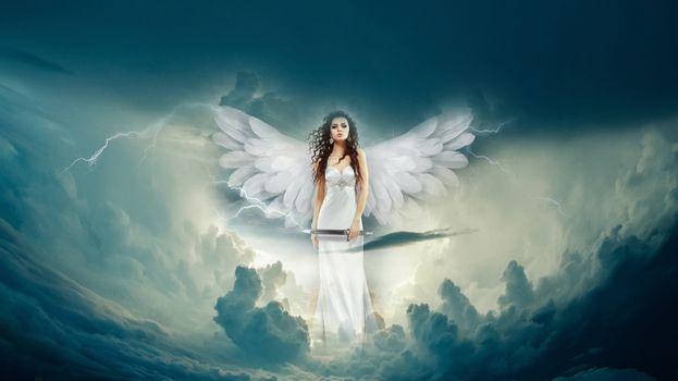 Бесплатные фото небо,молния,девушка,ангел,облака,фотошоп,фантазия