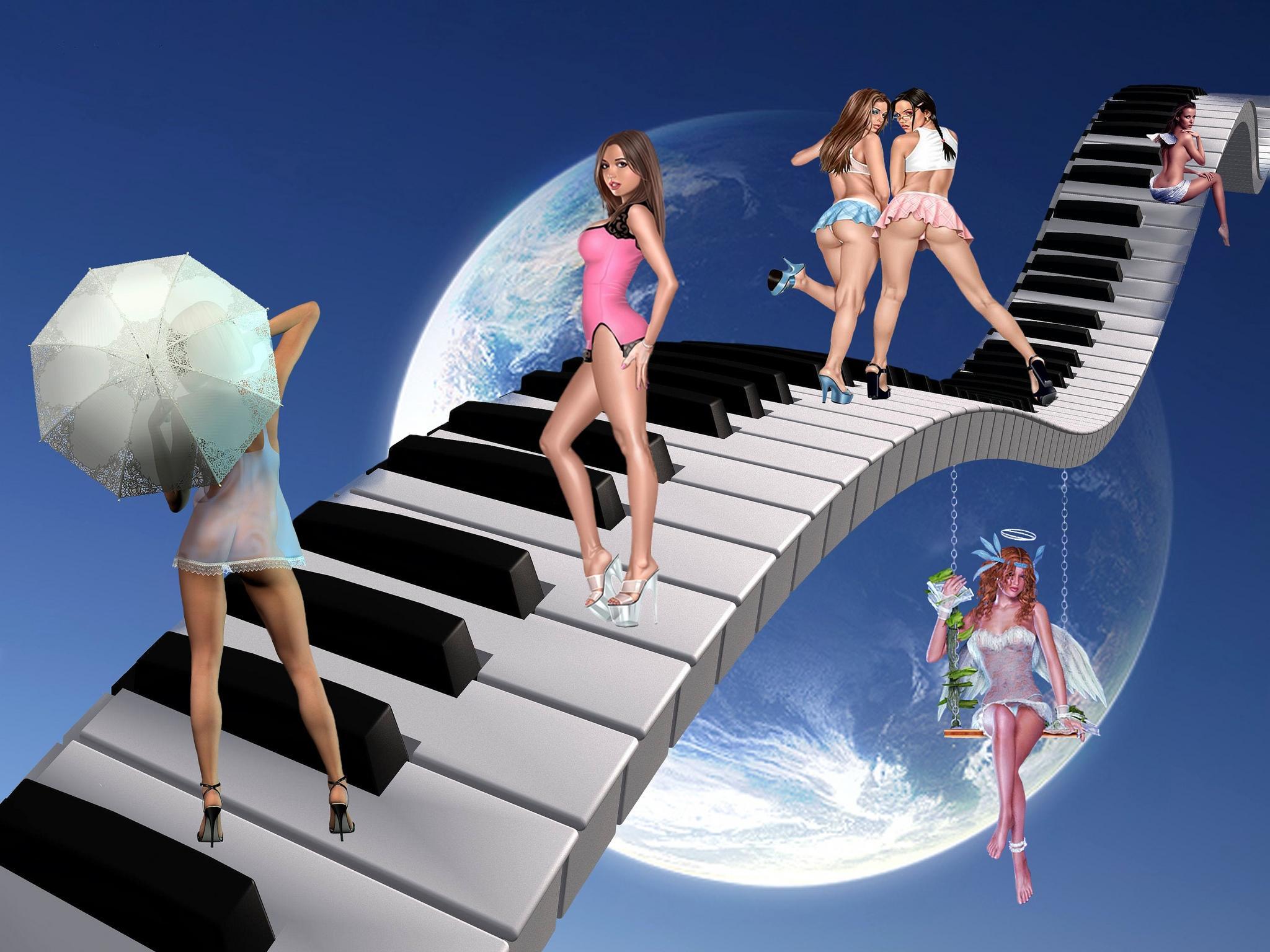 небо, клавиши, виртуальные девушки