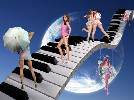 Заставки небо, клавиши, виртуальные девушки