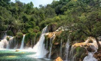 Заставки Krka National Park,Croatia,водопад,река,деревья,пейзад
