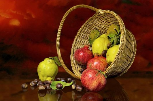 Фото бесплатно корзина, фрукты, гранат, груша, еда, натюрморт