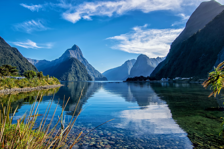 Обои Южный остров, Новая Зеландия, Милфорд, озеро