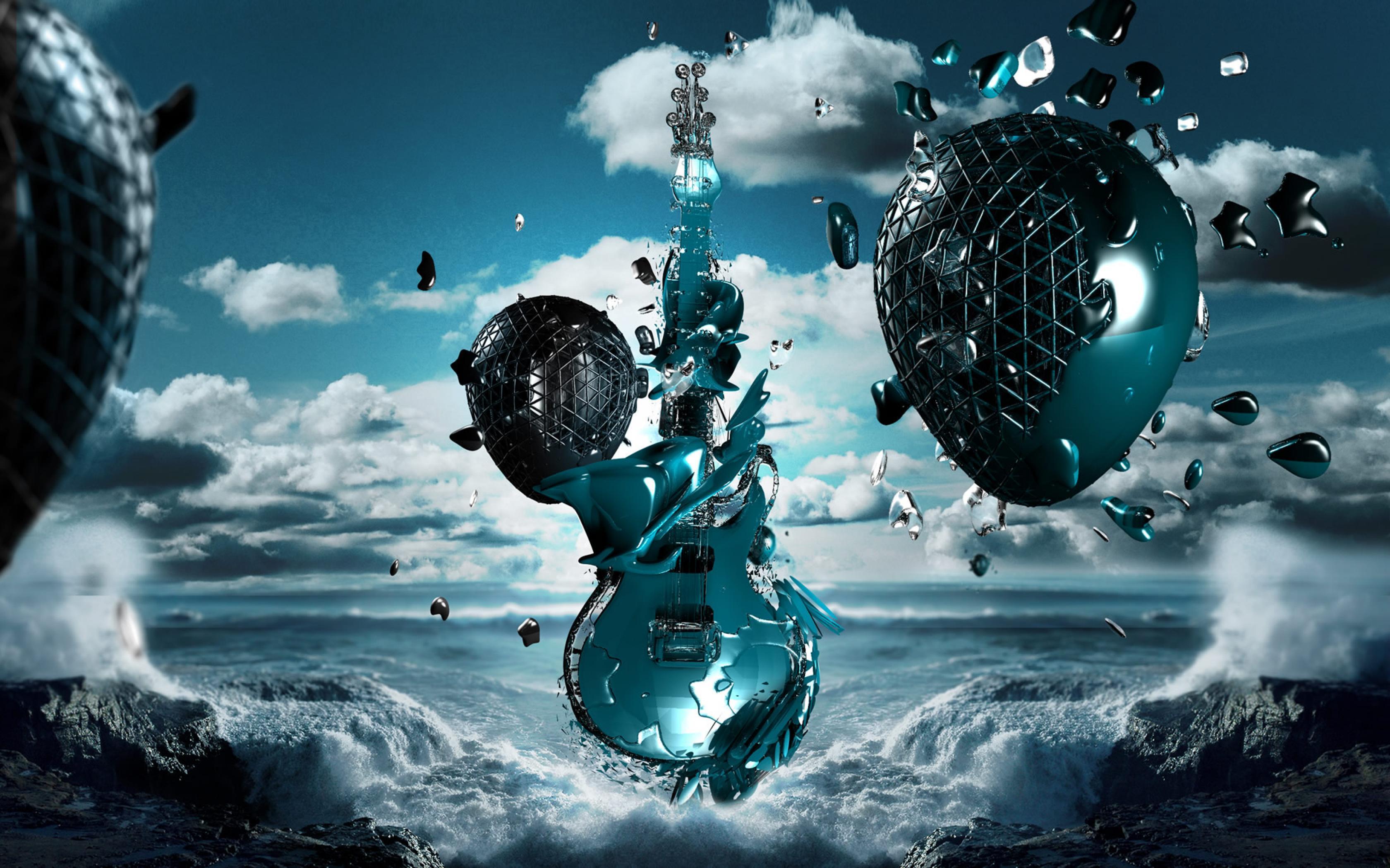 гитара, шары, небо, облака, океан, волны