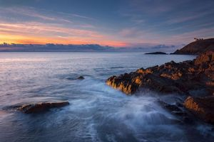 Заставки закат, море, Шотландия, скалы, волны, морской, пейзаж