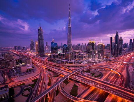 Заставки закат, город, United Arab Emirates