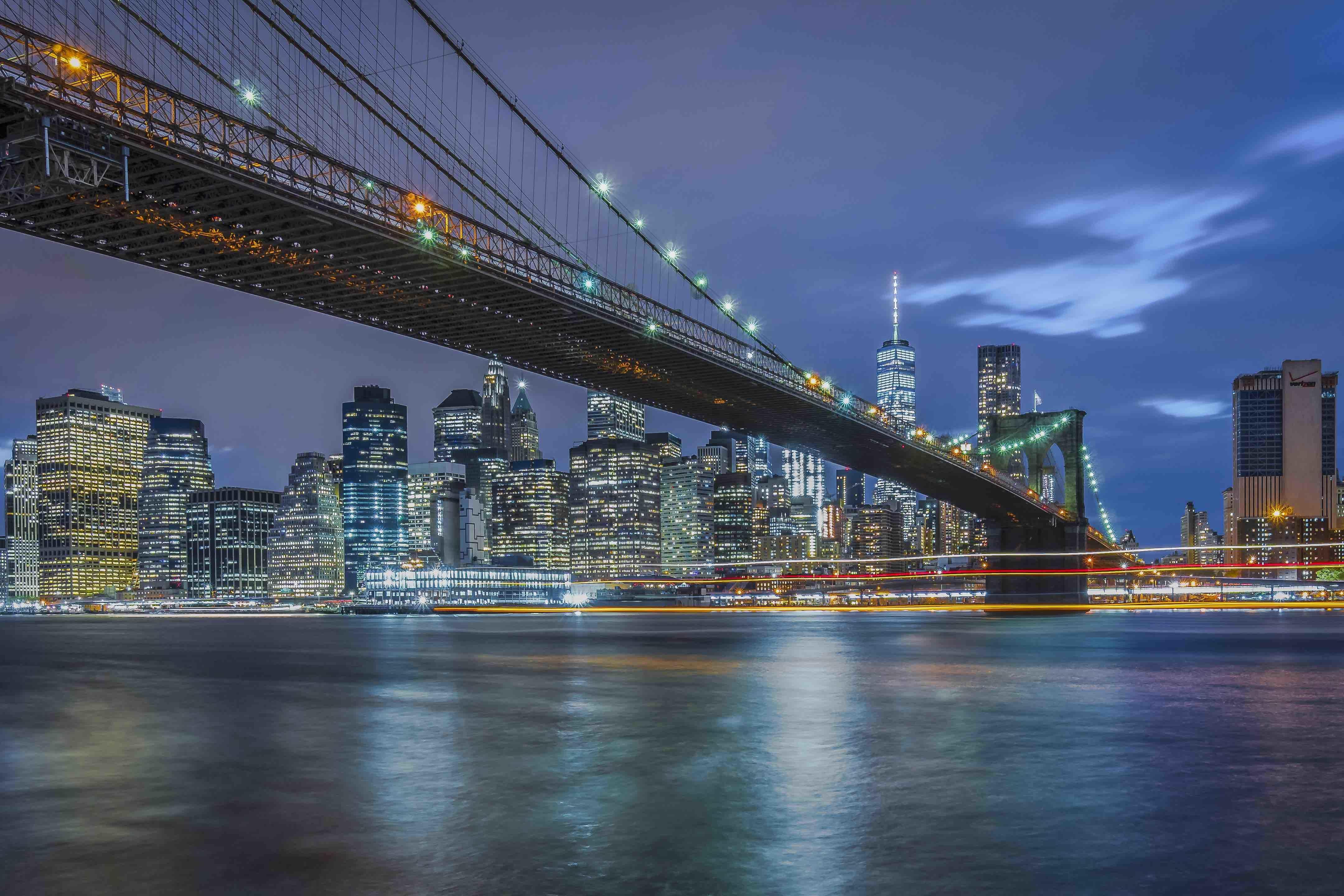 НЬЮ-ЙОРК, Бруклинский мост, город, ночь
