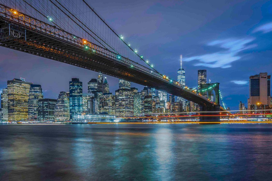Фото бесплатно НЬЮ-ЙОРК, Бруклинский мост, город, ночь, город