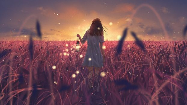Photo free anime landscape, field, anime girl