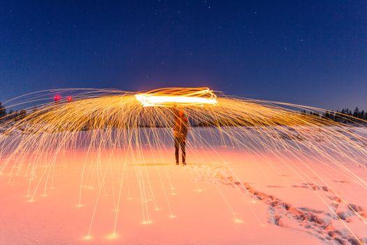 Фото бесплатно человек, снег, свет
