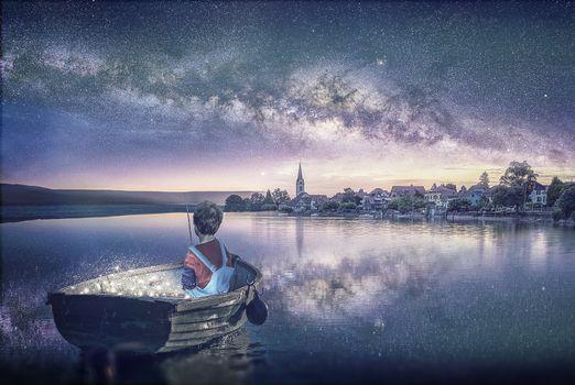 Фото бесплатно fisherman, закат, лодка