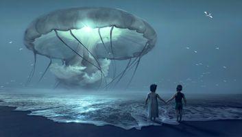 Фото бесплатно море, пляж, дети, гигантская медуза, волны, ночь, фантазия