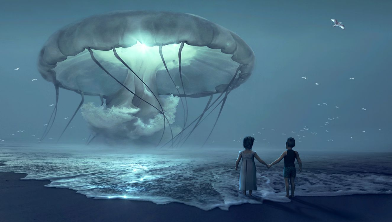 Free photo sea, beach, children, giant jellyfish, waves, night, fantasy - to desktop