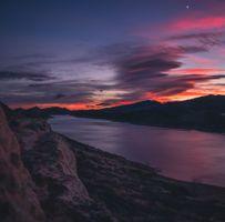 Фото бесплатно горы, река, закат