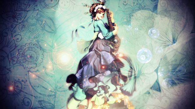 Бесплатные фото манга,платье,синие,цветы,manga,dress,blue,flowers