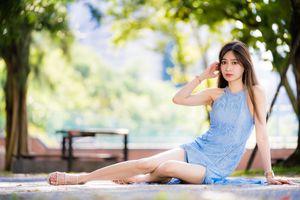 Фото бесплатно азиатка, коричневые волосы, руки