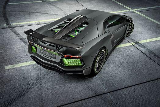 Заставки Lamborghini Aventador, серый, зеленые элементы