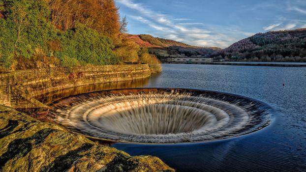 Бесплатные фото природа,река,воронка,круг,водопад,цифровое искусство,вода