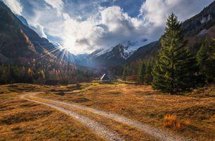 Бесплатные фото Словения,Альпы,осень,горы,дорога,домик,деревья