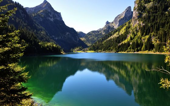 Заставки спокойное озеро, отражение, горы