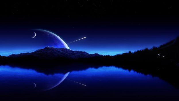 Фото бесплатно художник, ночь, горы