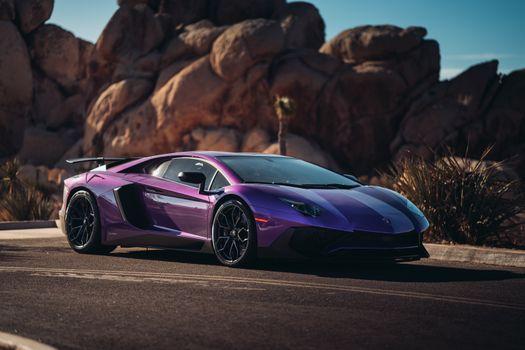 Photo free Lamborghini Aventador Superveloce Coupe, purple supercars, road