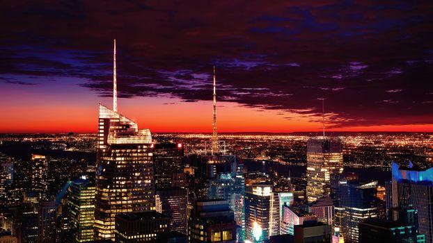 Фото бесплатно Нью-Йорк, закат, небоскребы