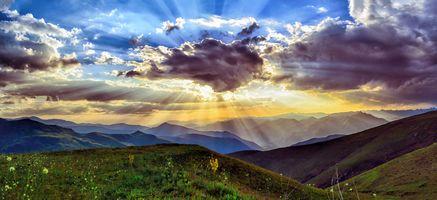 Фото бесплатно meadows, clouds, sunset