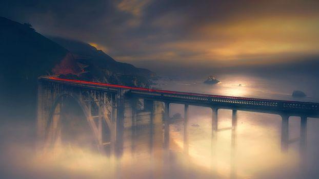 Фото бесплатно долгая выдержка, мост, художник