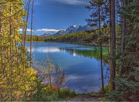 Photo free lake, mountains forest trees, nature