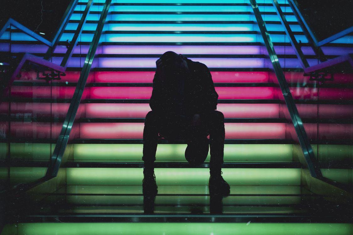 Free photo man, ladder, colorful - to desktop
