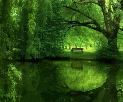 Фото бесплатно озеро, пруд, парк, деревья, скамейка, Рендеринг, отрисовка, визуализация, wallpapers