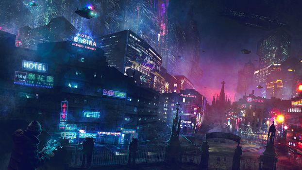 Фото бесплатно цифровое искусство, научная фантастика, город, киберпанк