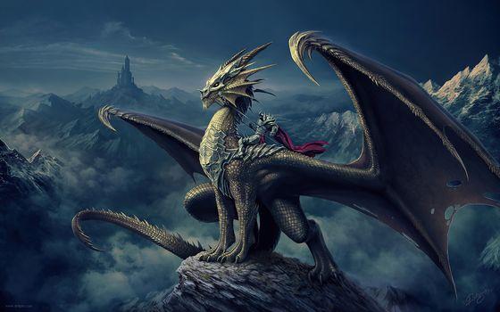 Фото бесплатно цифровое искусство, дракон, произведение искусства