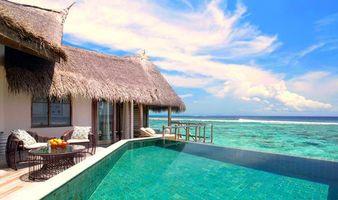 Фото бесплатно море, Мальдивы, бунгало