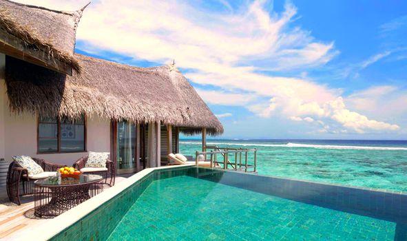 Photo free the sea, Maldives, bungalow