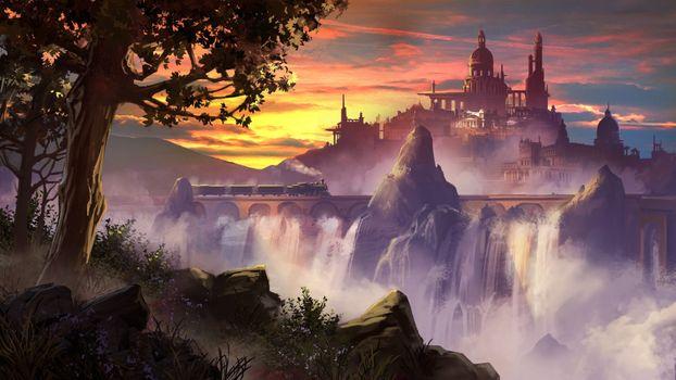 Photo free fantasy castle, waterfall, sunset