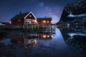 Обои Млечный Путь, ночь, небо, Лофотенские острова, Норвегия