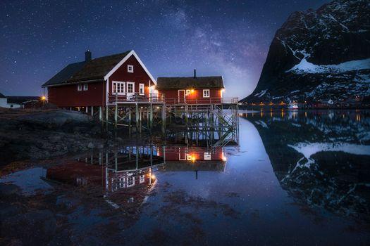 Фото бесплатно Млечный Путь, ночь, небо, Лофотенские острова, Норвегия