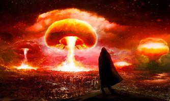 Обои ядерный взрыв, город, фантастика, фэнтези, фантасмагория