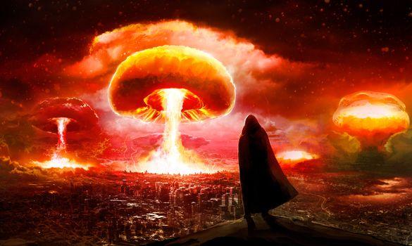 Photo free nuclear explosion, city, fantasy