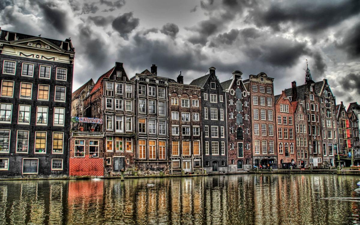 Фото бесплатно Амстердам, hdr, европа, нидерланды, старое здание, канал, пасмурно, город, здание, архитектура, город