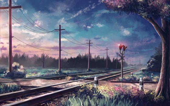 Фото бесплатно аниме пейзаж, железная дорога, облака