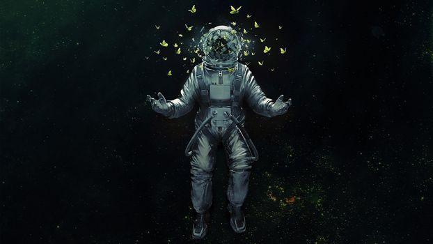 Фото бесплатно астронавт, научная фантастика, художник