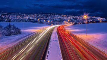 Бесплатные фото Norway,Trondheim,ночь,дорога,огни,иллюминация