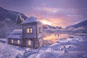 Обои закат, горы, озеро, зима, снег, домик, пейзаж