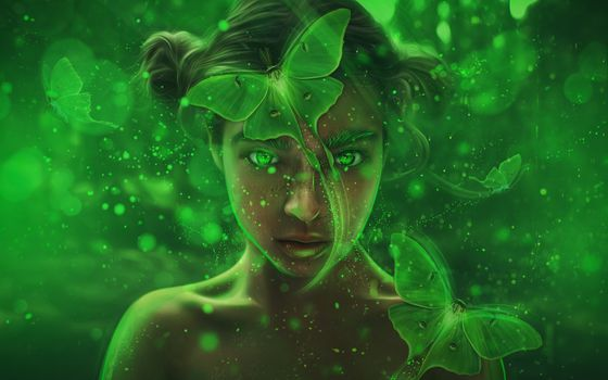 Photo free forest, fairy girl, fantasy woman